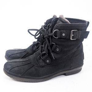Ugg Cecile Waterproof Leather Duck Boots 9.5 Black
